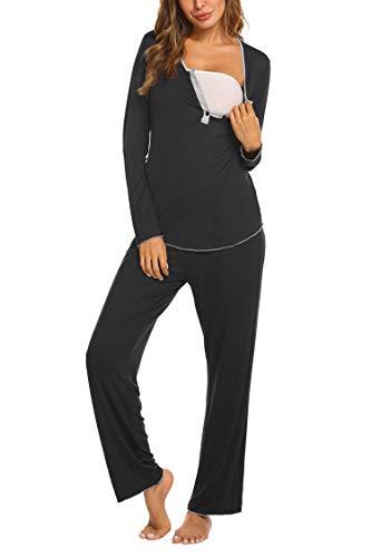 MAXMODA Damen Umstandspyjama V-Ausschnitt Oberteile Shirt und Lang Hosen mit Stillfunktion schwarz M