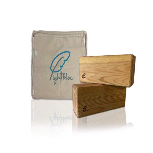 Lightbloc Bloque de Yoga de Madera Super Ligero - Made in Spain - Pack 2 Unidades - para Hacer Ejercicios apoyar y profundizar posturas - Hecho a Mano - Accesorios - Ladrillo-Tacos Yoga-Pilates