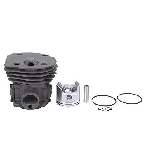 Conjunto de cilindro de 45 mm, kit de cilindro de pistón de motosierra compatible con motosierra Husqvarna 353 H353, kit de válvula de descompresión de anillo de pistón de cilindro plateado con pasado