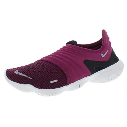 Nike Women's Free Run Flyknit 3.0 Trail Shoe, True Berry/Metallic Silver-Bla, 4 UK
