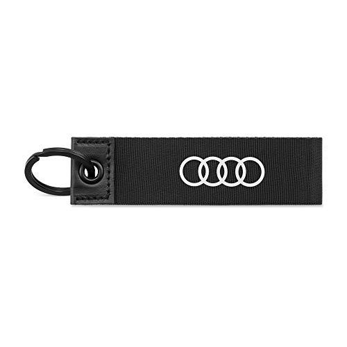 Audi 3182000200 Schlüsselanhänger Ringe Logo Schlüsselband Keyring Schlaufe, schwarz