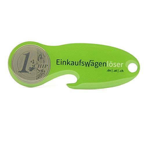 Einkaufswagenlöser Code24 Münze, 4 x Schlüsselanhänger mit Einkaufschip, Flaschenöffner & Schlüsselfinder, inkl. Registriercode für Schlüsselfundservice, Einkaufswagenchips, grün, Set