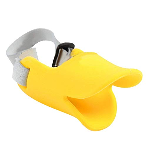 NACOCO Anti Bite Duck Mouth Shape Dog Mouth Covers Anti-Called Muzzle Masks Pet Mouth Set Bite-Proof (Yellow, M)