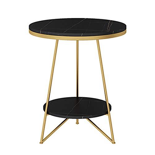 Couchtisch, doppelschichtiger rutschfester runder Beistelltisch, verwendet im Wohnzimmer, Café usw, Steinplatte, Kratz- / Rostschutz, Eisenkunst, stabile Tragfähigkeit/C / 50x60x36cm