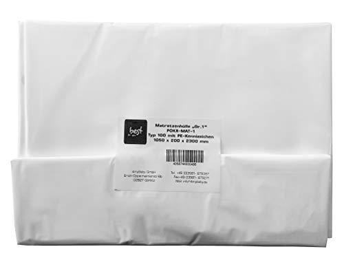 Best For You Matratzenhülle Schutzhülle in 3 Größen von 90 cm bis 160 cm breite geruchsneutral und reißfest sehr Gute Qualität (1050x200x2300 mm)