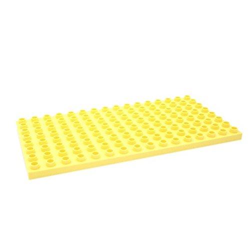 Katara 1814 - Kleine Grund Bauplatte 25,6 cm x 12,5 cm, Kompatibel Lego Duplo, Simba Blox, Hubelino, Q-Bricks, Gelb