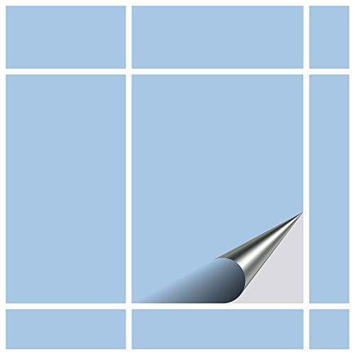 FoLIESEN Fliesenaufkleber 15x20 cm - Fliesen-Folie Bad - Klebefolie Küche - 10 Klebefliesen, Pastellblau matt