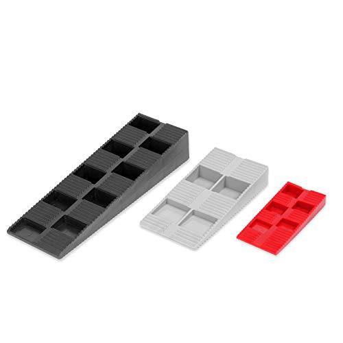 INNONEXXT® Premium Keile MIX | 135 Stück | Made in Germany | Unterlegkeile, Montagekeile, Distanzkeile aus Kunststoff | im Set: 70 x Rot, 55 x Grau, 10 x Schwarz