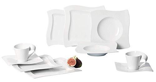 Villeroy & Boch NewWave Basic Set 30 TLG. Kombiset Geschirr, Premium Porzellan, weiß, 58.5 x 39 x 33 cm, Einheiten