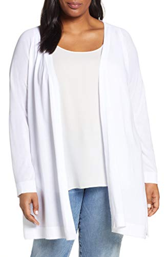 Eileen Fisher White Tencel Stretch Simple Long Cardigan Size XL MSRP $298