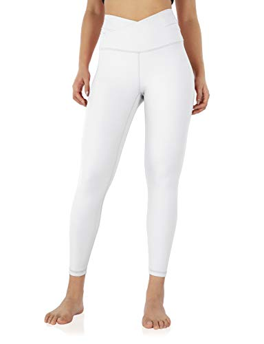 """ODODOS Women's Cross Waist 7/8 Yoga Leggings with Inner Pocket, High Waisted Workout Running Tights Yoga Pants -Inseam 25"""", White, Small"""