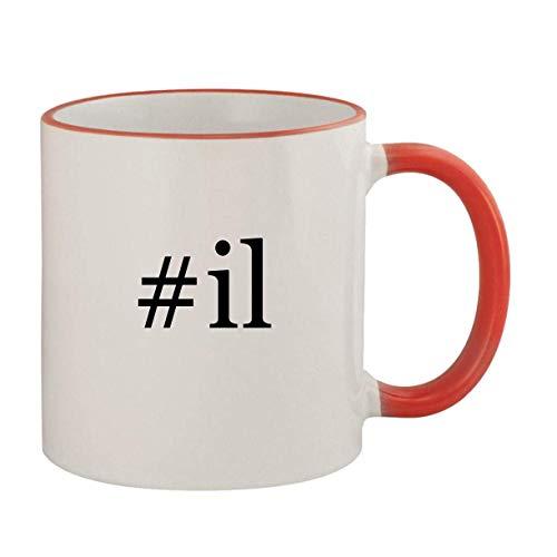 #il - 11oz Ceramic Colored Rim & Handle Coffee Mug, Red