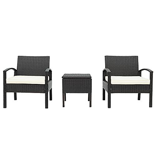 Moimhear Juego de muebles de jardín de polirratán para balcón, juego de 2 personas, 1 mesa y 2 sillones, resistente a la intemperie, para jardín, balcón y terraza