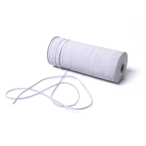 Top Hunter White 120-Yards Length 1/8' Width Braided Elastic Cord/Elastic Band/Elastic Rope/Bungee/White Heavy Stretch Knit Elastic Spool (White)