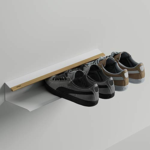 Armore Scarpiera Moderna Salvaspazio Slim Da Appendere Al Muro Bianca Ingresso Metallo Legno Rovere 58x14x8 cm Made in Italy con 1 ripiano capacità fino a 3 paia di scarpe, impermeabile e resistente