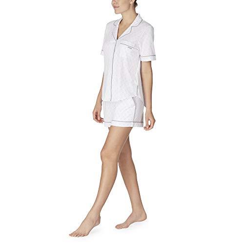 DKNY Signature Schlafanzug-Set, kurzes Strick-Logo, Weiß Gr. Large, weiß