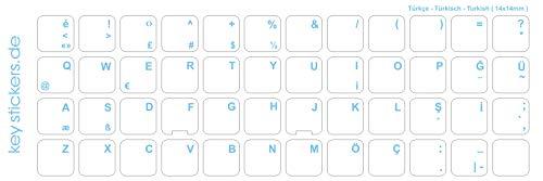 Keystickers® | Türkische Aufkleber für PC/Laptop & Notebook Tastaturen 14x14mm, transparent mit mattem Schutzlack, Farbe HELLBLAU | Klavye için Türk harfleri | Turkish Keyboard Stickers