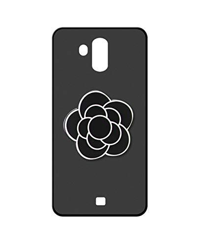 Sunrive Kompatibel mit HOMTOM S7 Hülle Silikon, Handyhülle matt Schutzhülle Etui 3D Hülle Backcover (A1 Schwarze Blume) MEHRWEG+Gratis Universal Eingabestift
