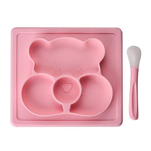 Bonbela Divisor infantil de silicona para bebés, con cuchara, antideslizante, con ventosa
