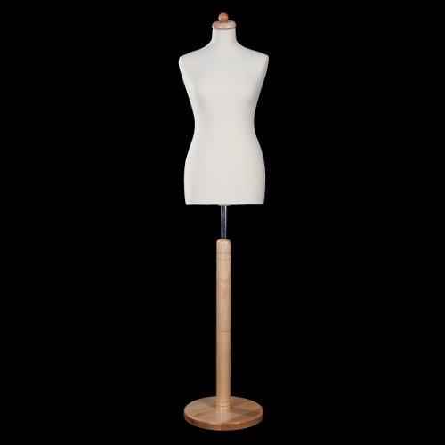 DPS Shopfitting Damen Schneiderbüste, Bezug Creme Weiß, Rundfuß Ständer Buche Natur