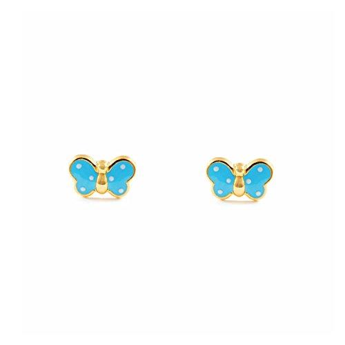 Monde Petit T1663P - Pendientes de bebe/niña oro 18 kts. mariposa esmaltada, color azul