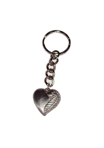 Zinngeschenke Herz mit Flügel aus Zinn (HxB) 2,5 x 2,5 cm patiniert mit Schlüsselanhänger auch als Kettenanhänger möglich mit Gravur,