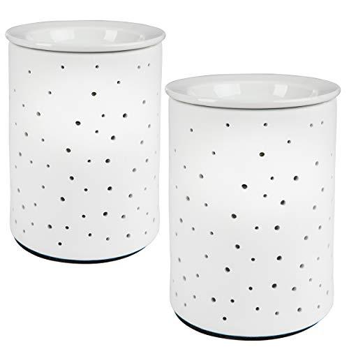 ONVAYA Porzellan Duftlampe DOTS   2 Stück   Elektrisch   Weiss   15 cm   für die Steckdose   mit Birne   Aromalampe