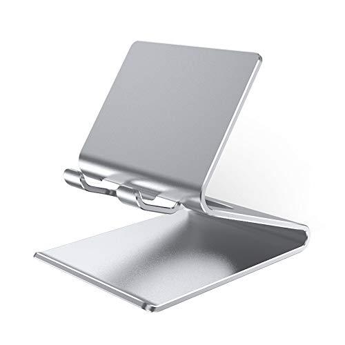 YOPU Soporte de aleación de aluminio para teléfono celular, soporte de escritorio, compatible con smartphones y tabletas de 3 a 9.7 pulgadas para reloj TV, videoconferencia, vídeo, foto