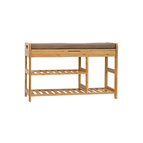 C&AHOME Shoe Rack Bench, Entryway 3-Tier Shoe Organizer, Max Load 270 LBS, Bamboo Storage Shelf with Cushion for Boots, Modern Stool for Bedroom Living Room, 31.5' L x 11.6' W x 19.3' H Natural