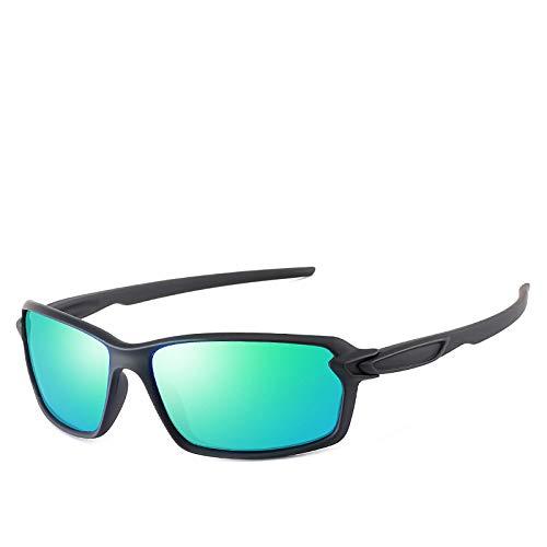 Gafas de Sol,Gafas de sol polarizadas para hombres y mujeres Gafas de sol deportivas Gafas de colores de pintura elástica, Película verde negra elástica n. ° 3