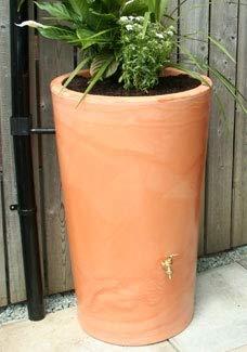 Ecosure 180 Litre Decorative Garden Planter Water Butt Rainwater Collection (Terracotta Effect)