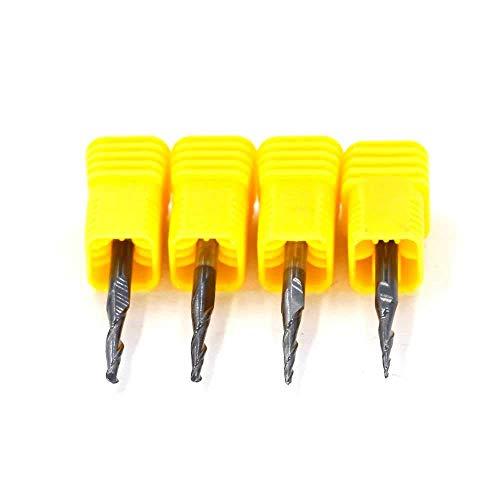 Senmubery CNC-Fräsfräser, konisch, 2 Rillen, Schaftfräser zum Gravieren, Fräsen, 0,3 cm Schaft, R0,25 R0,5 R0,75 R1,0, 4 Stück