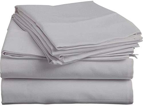 Giza Dream Sheets-King Sheets-Giza Cotton Sheets-King Size Giza Dream Sheets –Giza Cotton Bed Sheet Set –King Giza Cotton Sheet Set (4 Pcs) (Silver Grey Solid)