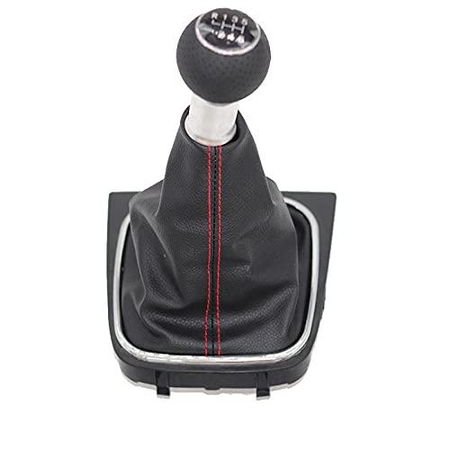 Botón de Cambio de Polaina konb de Cambio de Marchas de Coche de 12 mm 5/6 velocidades, Aptopara v/w Golf 5 mk5 r32 GTD GTI Golf 6 mk5 mk6 Jetta 2005-2014-R123456_Red_Line