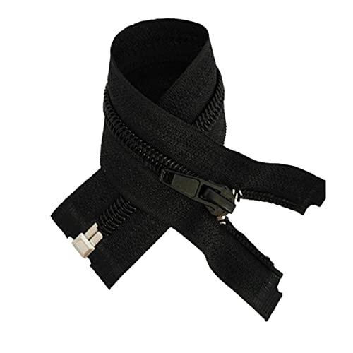 10PCS Black 15-180cm Zippers Open End Zipper Nylon Zipper for Sewing Garments Long Coat Down Jacket, DIY Sewing-q,5#,150cm