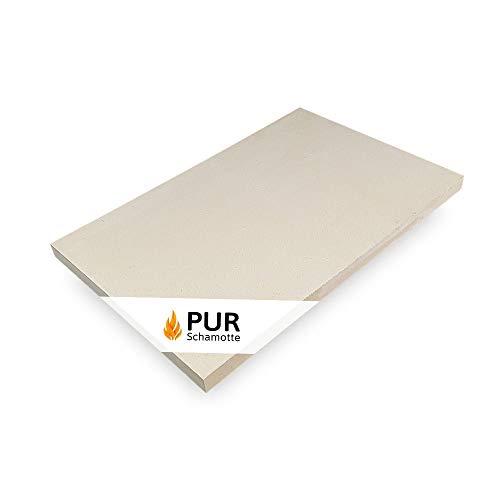 PUR Schamotte Schamottplatte 600 x 400 x 30 mm 1 Platte für Kamin Ofen Grill I Schamottstein Lebensmittelecht