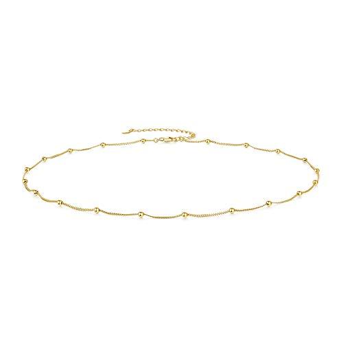 CERSLIMO Kette Gold, Sterling Silber Choker Kette Damen Perle Halskette ohne Anhänger für Frauen Mädchen