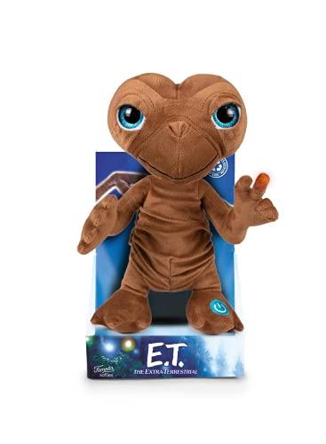 Famosa - Peluche de ET el Extraterrestre de 25 centímetros, suave y blando, con luz en el dedo y sonido, dice frases de la famosa película, para fans cinéfilos y niños de cualquier edad, (760019697)