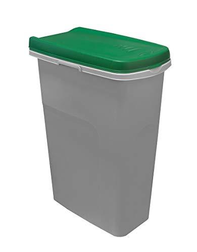BigDean Mülleimer-System schmal & verbindbar - 25L Abfalleimer für Mülltrennung - grau/grün - mit Klappdeckel - Müll-System Abfallsystem Mülltrennsystem - für Küche, Zimmer & Draußen