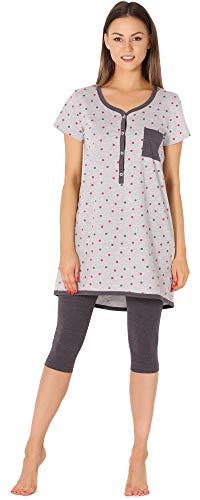 Be Mammy Pijama Premamá Camiseta y Leggins 3/4 Embarazo Lactancia BE20-177 (Melange-Lunares-Grafito, XXL)