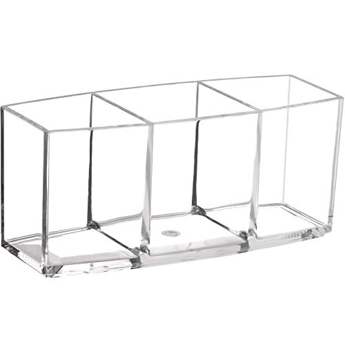 Clear Makeup Brush Holder Organizer, Cosmetic Brushes Storage with 3 Slots