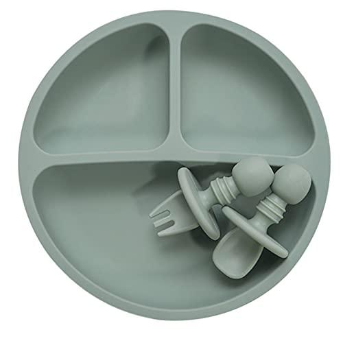 WXDC Children's Dishes Fork Spoon Three Piece Set, BPA Free Silicone Anti-hot Training Plate, Feeding Food Tableware