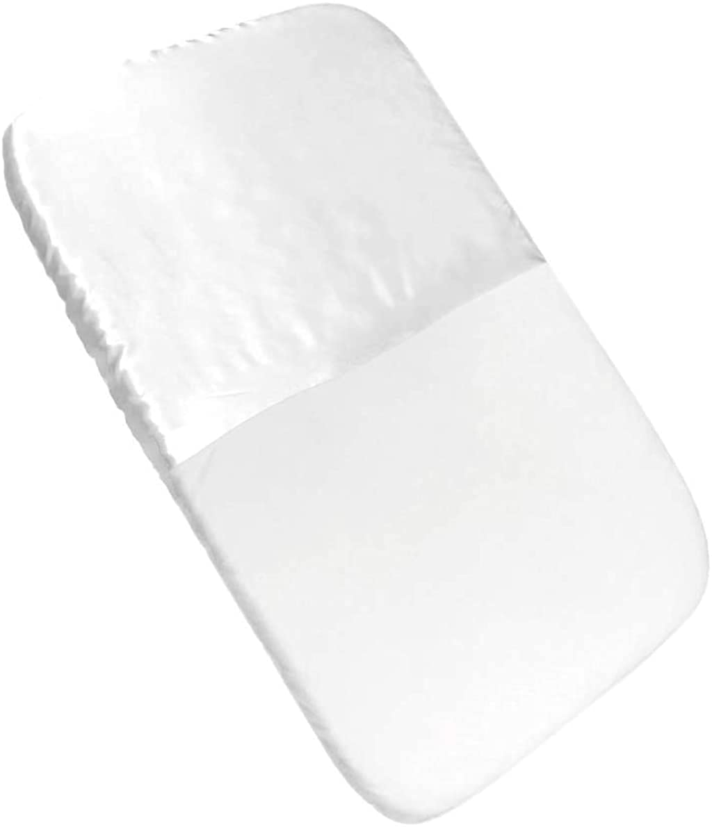 """Mane by Tim & Tam Satin & Organic Cotton Fitted Cradle Sheet - Protect Delicate Hair and Skin fits mattresses up to 36""""x18""""x4"""" (White)"""
