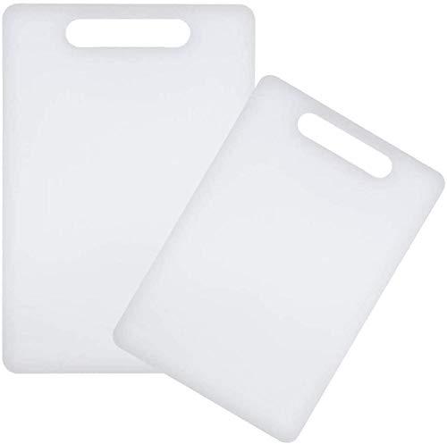 Space Home - Juego de 2 tablas de cortar de cocina - Tabla de cortar de polietileno - 2 tamaños - Blanco