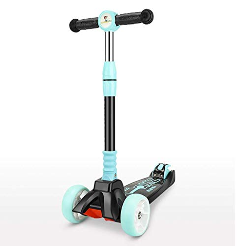 Scooter Kids 3-Rad, Alter 3-16 Tritt höhenverstellbare Griff 56-77cm mit PU-Flashing Räder 90 ° Folding for Jungen und Mädchen Grün Rosa Gelb (Color : Green)