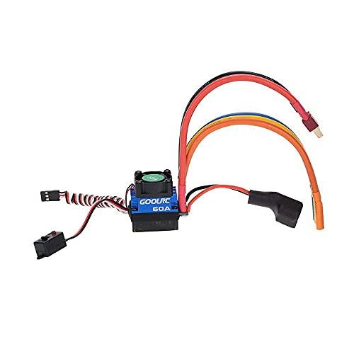 LIZONGFQ Controlador de Velocidad electrónico ESC sin escobillas de batería LiPo 60A 2S-3S con BEC de 6V / 3A para Piezas de Coche RC 1/10
