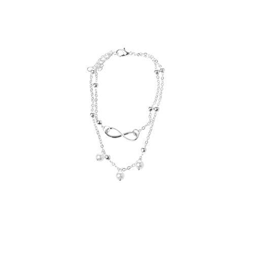 N-brand PULABO Knöchel Armband - Frauen Unendlichkeit Liebe Doppelkette Fußkettchen Armband Strand Perle Barfuß Schmuck Stilvoll und langlebig Beliebt