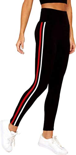 Shri Hub Gym wear Leggings Ankle Length Free Size Workout Trousers | Stretchable Striped Jeggings | High Waist Sports Fitness Yoga Track Pants for Girls & Women (Black)