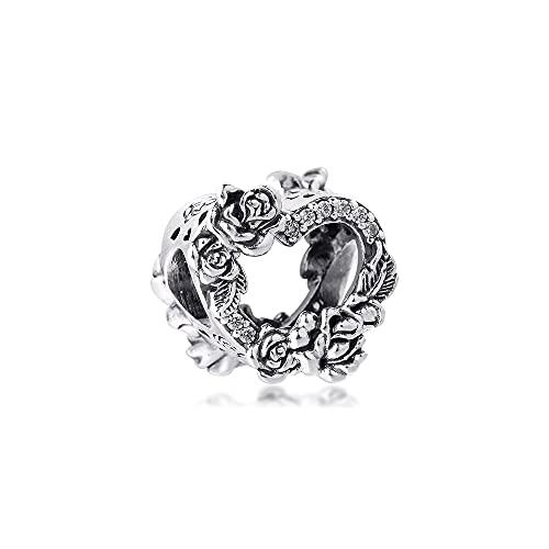 Diy 925 Pandora Öppen Hjärta Hänge Rose Ägare Charms Passar Armband Original Sterling Silver Pärlor Smycken Gör Alla Hjärtans Dag