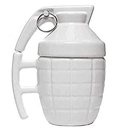 ASEOK Funny Grenade mug - Taza de Desayuno para Cappuccino, café y té en cerámica - 300 ml - Taza en Forma de Granada con Tapa - Idea Original y Divertida de Regalo (Blanco)